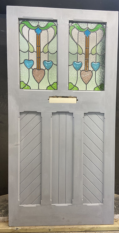 X LARGE VICTORIAN STAINED GLASS FRONT DOOR OLD RECLAIM ANTIQUE WOOD ARTS CRAFTS