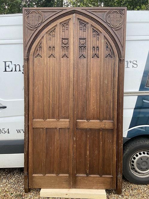 LARGE ARCHED TUDOR GOTHIC DOORS FRAME BESPOKE MAHOGANY CARVED PERIOD WOOD UNIQUE
