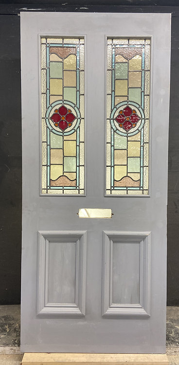 VICTORIAN STAINED GLASS FRONT DOOR RECLAIMED ANTIQUE PERIOD LEADED WOOD PRIMED