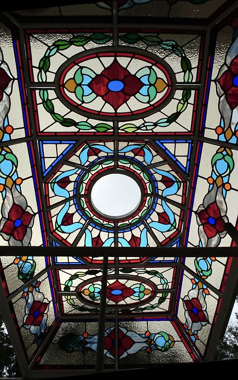 XL LARGE ART NOUVEAU STAINED GLASS ROOF DOME ORANGERY ROOF LIGHT
