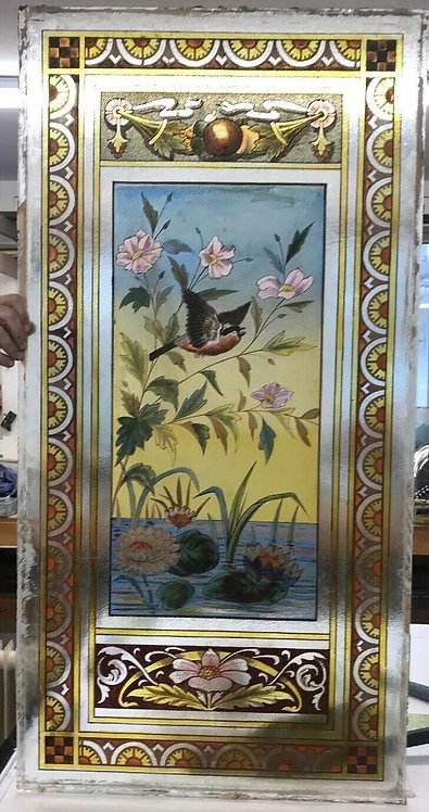 ANTIQUE VICTORIAN STAINED GLASS WINDOW HAND PAINTED OLD RECLAIMED PERIOD UNIQUE