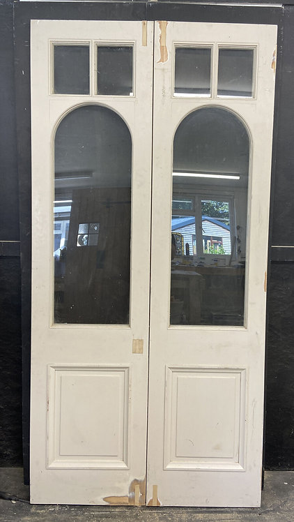 EDWARDIAN FRENCH DOORS ANTIQUE PERIOD RECLAIMED OLD DOUBLE SET PAIR WOOD PINE