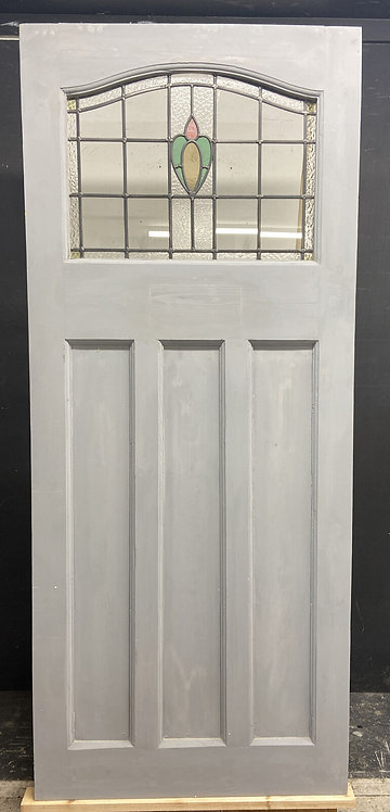 ART DECO STAINED GLASS FRONT DOOR ANTIQUE PERIOD RECLAIMED OLD 20s 30s LEADED