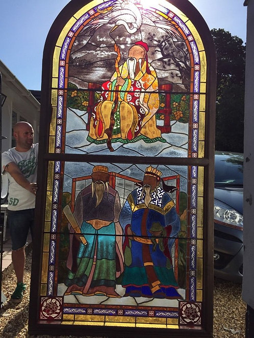 LARGE ORIENTAL STAINED GLASS WINDOW PANEL ARCHITECTURAL ANTIQUE PERIOD LEAD OLD