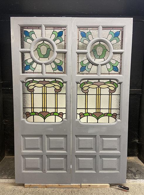BESPOKE STAINED GLASS DOOR WINDOW PANELS TO ORDER VICTORIAN EDWARDIAN ART DECO