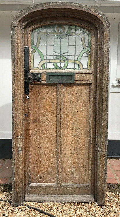 V LARGE FRONT DOOR ANTIQUE PERIOD RECLAIMED OLD OAK FRAME ARCH STAINED GLASS