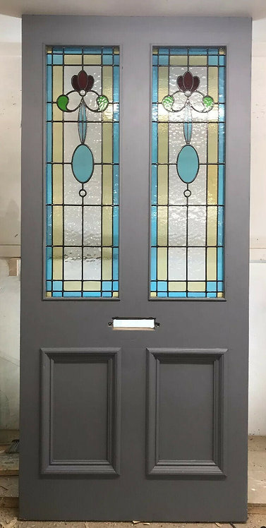 GRAND LARGE TALL VICTORIAN STAINED GLASS FRONT DOOR RECLAIMED OLD PERIOD ANTIQUE