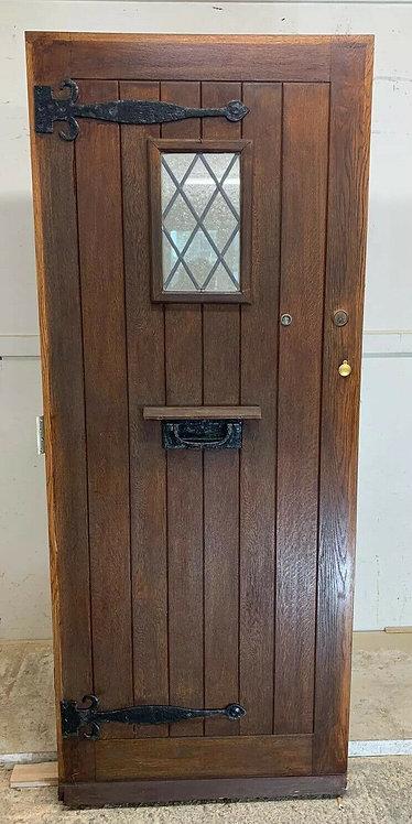 SOLID OAK FRONT DOOR OLD PERIOD WOOD ANTIQUE RECLAIMED HARDWOOD 1900s GLAZED