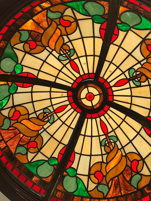 STAINED GLASS ROOF LIGHT DOME WINDOW LEADED SOLID TEAK CUSTOM RARE ARTS CRAFTS