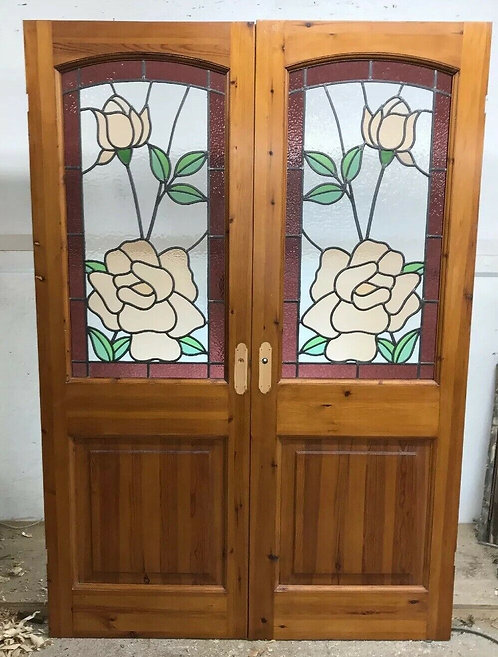 VICTORIAN STAINED GLASS DOORS ANTIQUE PERIOD RECLAIMED OLD FRENCH DOUBLE LEADED