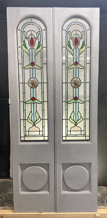 EDWARDIAN STAINED GLASS FRENCH DOORS ANTIQUE PERIOD RECLAIMED OLD FRENCH LEAD