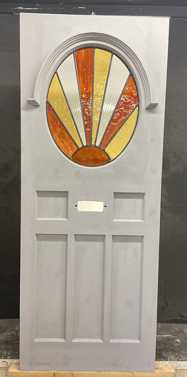 ART DECO STAINED GLASS FRONT DOOR ANTIQUE PERIOD RECLAIMED OLD FRENCH LEADED