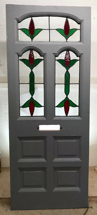 EDWARDIAN STAINED GLASS FRONT DOOR OLD PERIOD RECLAIMED WOOD ANTIQUE LEAD PINE.
