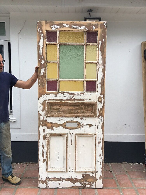 VICTORIAN STAINED GLASS FRONT DOOR PERIOD OLD RECLAIMED ANTIQUE C1900 PINE WOOD