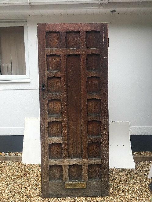 SOLID OAK FRONT DOOR ANTIQUE PERIOD OLD WOODEN RECLAIMED ARTS CRAFTS EBDONS