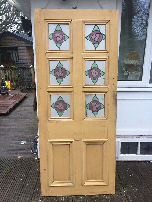 STAINED GLASS DOOR PERIOD OLD RECLAIMED ANTIQUE BESPOKE PORCH VESTIBULE LEADED