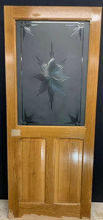 SOLID OAK VESTBULE DOOR OLD ARTS CRAFTS ETCHED HAND CUT GLASS PERIOD WOOD UNI