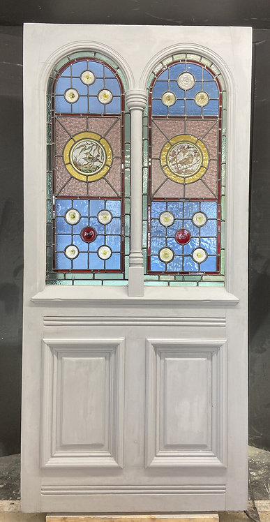 X LARGE VICTORIAN STAINED GLASS FRONT DOOR RECLAIMED ANTIQUE PERIOD C1860 LEADED