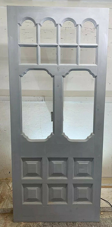LARGE EDWARDIAN FRONT DOOR PERIOD OLD RECLAIMED ANTIQUE WOOD REBUILT PRIMED FACE