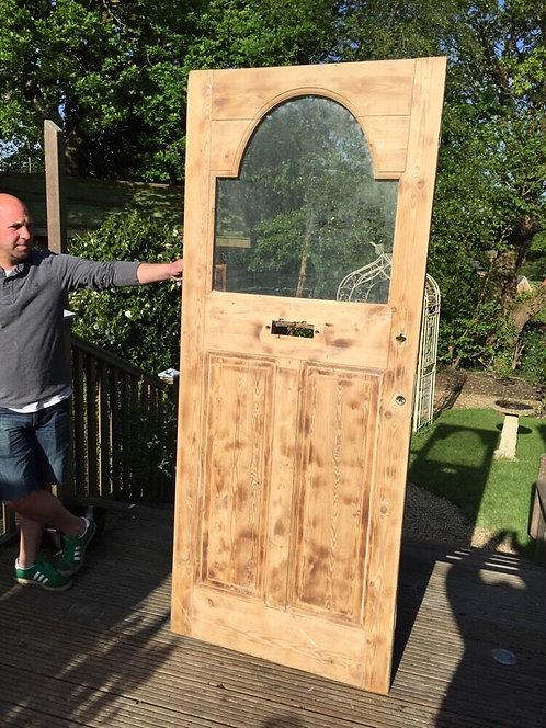LARGE EDWARDIAN FRONT DOOR WOODEN RECLAIMED EXTERNAL ANTIQUE PINE STRIPPED
