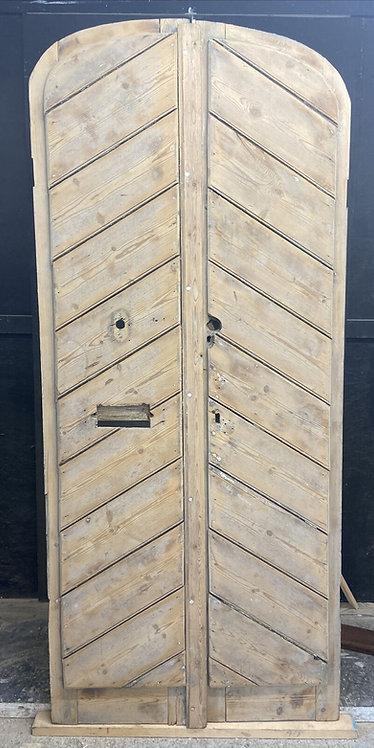 PAIR ANTIQUE DOUBLE DOORS PINE PERIOD RECLAIMED OLD SCHOOL CORNISH FOLLY GARDEN