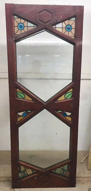 UNIQUE ART DECO STAINED GLASS FRONT DOOR OLD PERIOD RECLAIMED ANTIQUE HARDWOOD