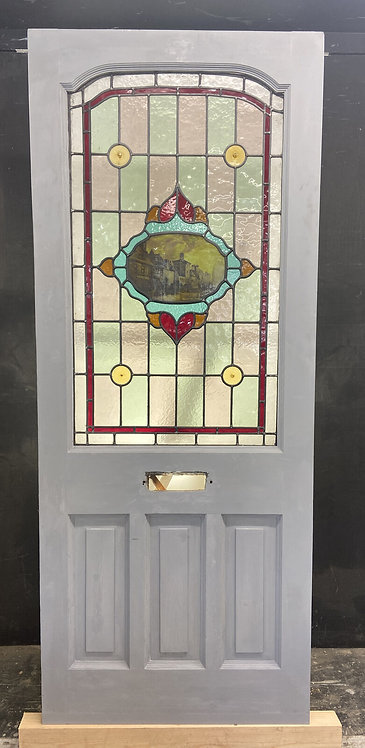 UNIQUE EDWARDIAN FRONT DOOR PERIOD STAINED GLASS OLD RECLAIMED ANTIQUE WOOD LEAD