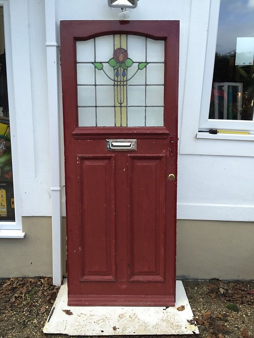 STAINED GLASS FRONT DOOR WOODEN RECLAIMED PERIOD OLD EDWARDIAN LEADED 1920s