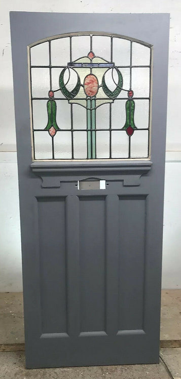EDWARDIAN STAINED GLASS FRONT DOOR 20s PERIOD RECLAIMED OLD ANTIQUE WOOD LEADED