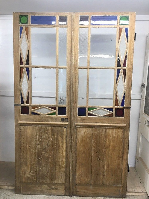 RARE LARGE STAINED ETCHED GLASS DOORS FRENCH PAIR RECLAIMED ANTIQUE PERIOD OLD