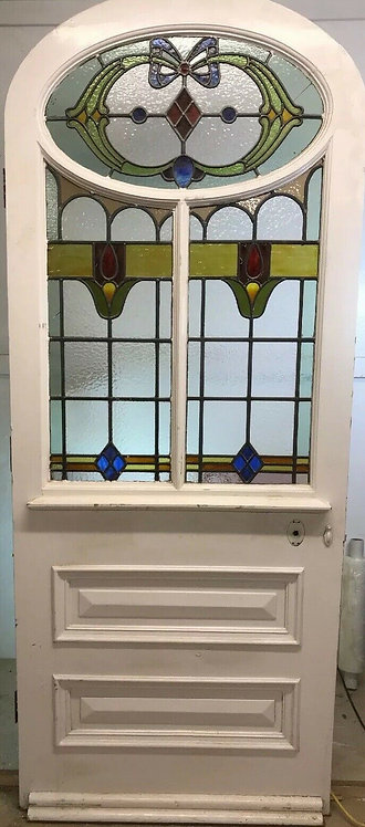 V LARGE ART NOUVEAU STAINED GLASS FRONT DOOR RECLAIMED OLD PERIOD ANTIQUE RARE