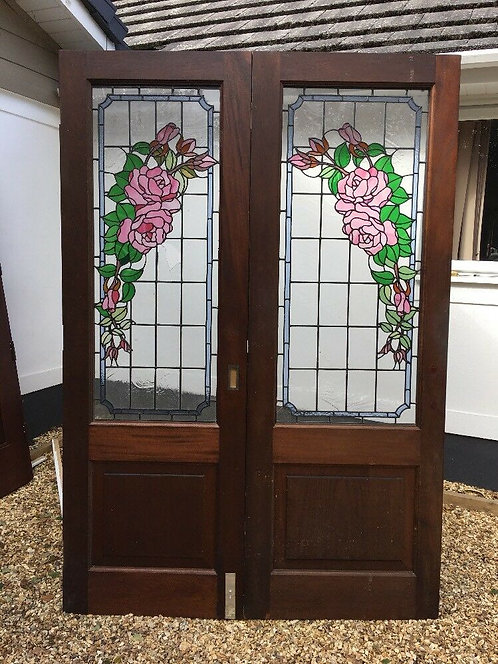 LARGE EDWARDIAN STAINED GLASS DOORS FRENCH RECLAIMED ANTIQUE PERIOD OLD TIFFANY