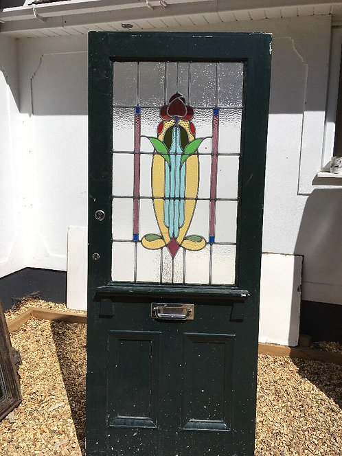 VICTORIAN NOUVEAU STAINED GLASS FRONT DOOR HARDWOOD RECLAIMED OLD PERIOD ANTIQUE