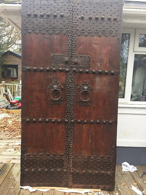 LARGE MEDIEVAL DOOR SET ANTIQUE PERIOD RECLAIMED OLD FORGED IRON RARE WOOD METAL