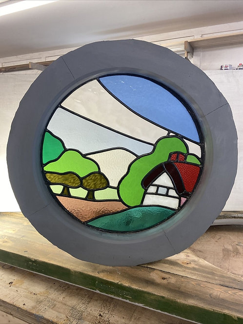 COTTAGE ROUND PORTHOLE STAINED GLASS WINDOW WOOD PERIOD OLD RECLAIMED LEADED