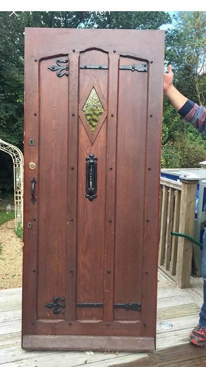 LARGE SOLID OAK FRONT DOOR GLAZED WOOD OLD PERIOD ANTIQUE 20s 30s ART DECO IRON