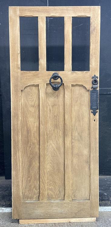 SOLID OAK FRONT DOOR ARTS CRAFTS OLD PERIOD ANTIQUE UNGLAZED RECLAIMED HARDWOOD