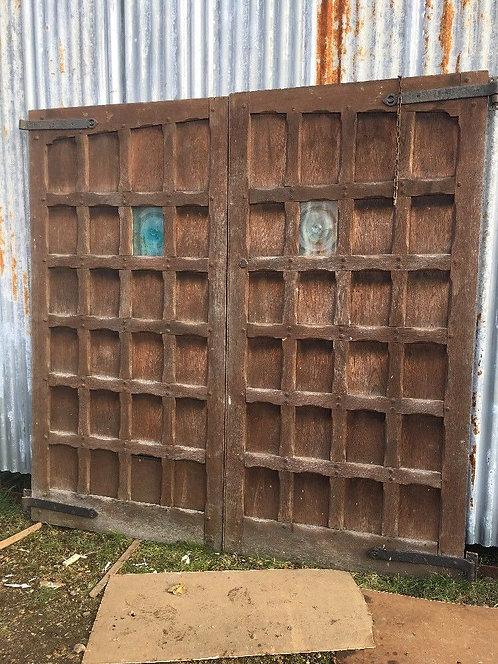 LARGE SOLID OAK GARAGE DOORS ANTIQUE PERIOD OLD WOOD RECLAIMED ARTS CRAFTS 1900s