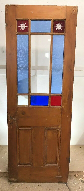RUSTIC QUIRKY VICTORIAN STAINED GLASS DOOR RECLAIM PERIOD OLD ANTIQUE VESTIBULE
