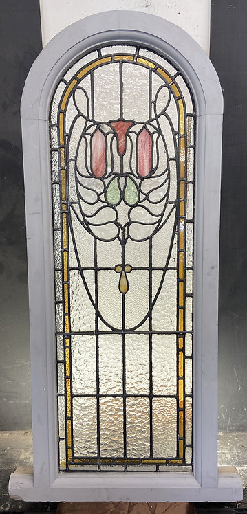 LARGE ART NOUVEAU STAINED GLASS WINDOWS ANTIQUE PERIOD LEAD OLD RECLAIMED WOOD