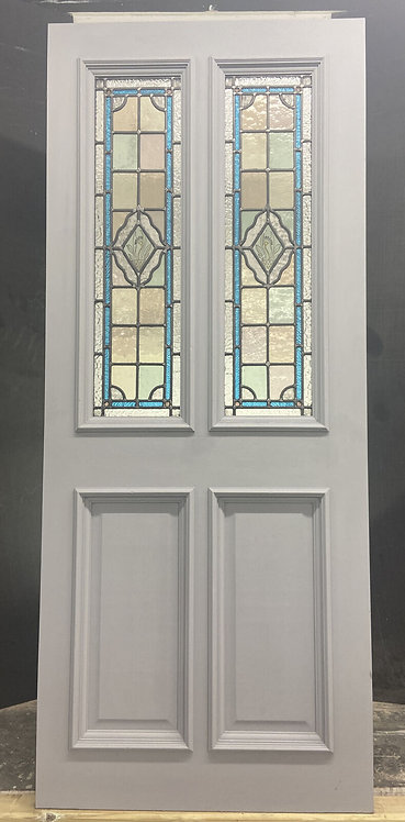 VICTORIAN FRONT DOOR PERIOD STAINED GLASS OLD RECLAIMED ANTIQUE HARDWOOD LEAD