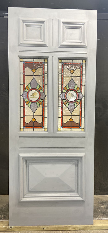 VICTORIAN STAINED GLASS FRONT DOOR RECLAIMED ANTIQUE PERIOD C1890 LEADED WOODEN