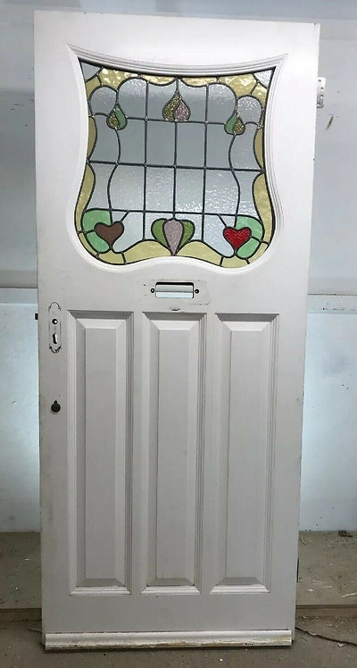 LARGE ART DECO 20 30s STAINED GLASS FRONT DOOR WOOD RECLAIMED OLD PERIOD JOINER
