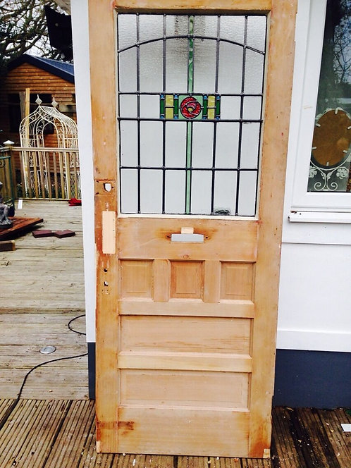 REBUILT STAINED GLASS FRONT DOOR RECLAIMED 1930s ART DECO OLD PERIOD HERITAGE.