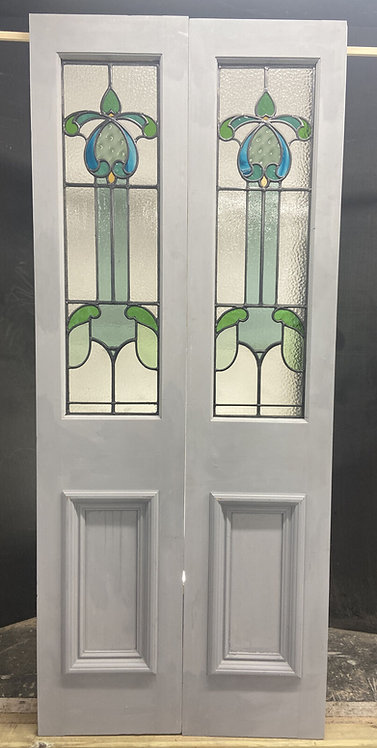 VICTORIAN STAINED GLASS DOORS ANTIQUE PERIOD RECLAIMED OLD FRENCH WOOD LEAD