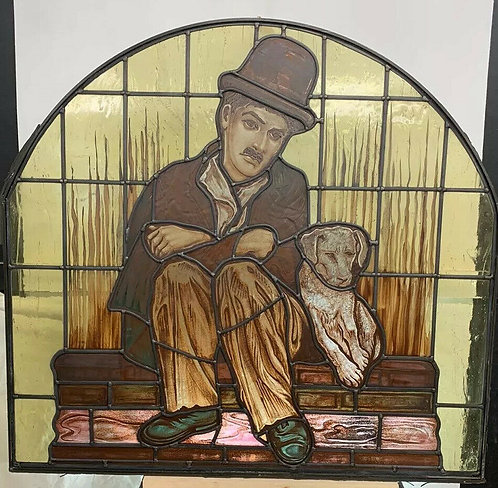 LARGE STAINED GLASS WINDOW PANEL HAND PAINTED CHARLIE CHAPLIN :THE LITTLE TRAMP