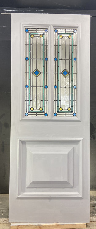 VICTORIAN FRONT DOOR PERIOD STAINED GLASS OLD RECLAIMED ANTIQUE WOOD LEAD REFURB