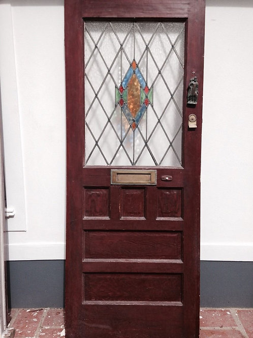 1930s FRONT DOOR ART DECO STAINED GLASS OLD TIMBER WOODEN RECLAIMED ANTIQUE