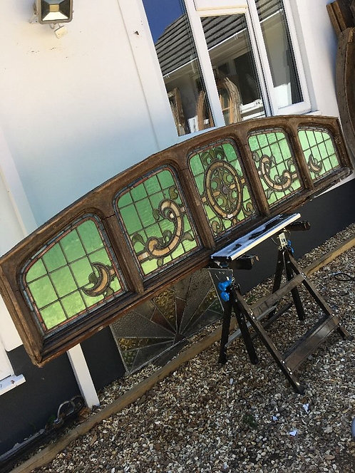 LARGE STAINED GLASS WINDOW PANEL ARCHITECTURAL ANTIQUE PERIOD LEAD OLD C1860