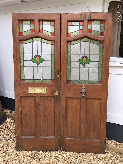 DOUBLE ANTIQUE STAINED GLASS DOORS PERIOD RECLAIMED OLD EDWARDIAN WOOD LEAD 1905